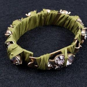 J. Crew Jewelry - J. Crew Bracelet Green Ribbon Blush Rhinestones